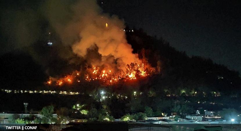 Incedio forestal afectó parte del Cerro San Cristobal y fue controlado durante la madrugada