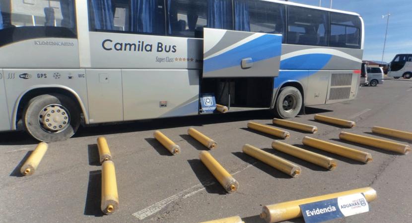 Personal de Aduanas detectó 274 kilos de marihuana dentro de un bus de recorrido internacional