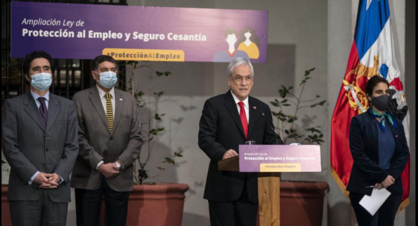 Presidente Sebastián Piñera firma proyecto que amplía cobertura y beneficios de Protección del Empleo y del Seguro de Cesantía
