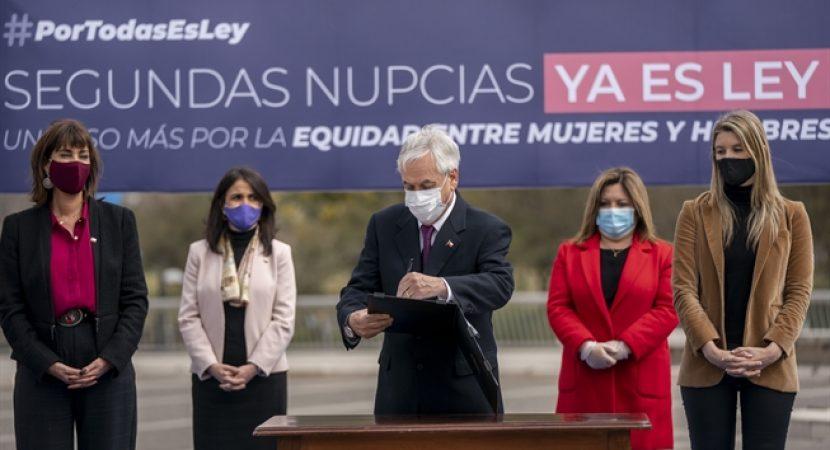 Presidente Sebastián Piñera promulga ley que elimina trato desigual contra las mujeres para contraer segundas nupcias