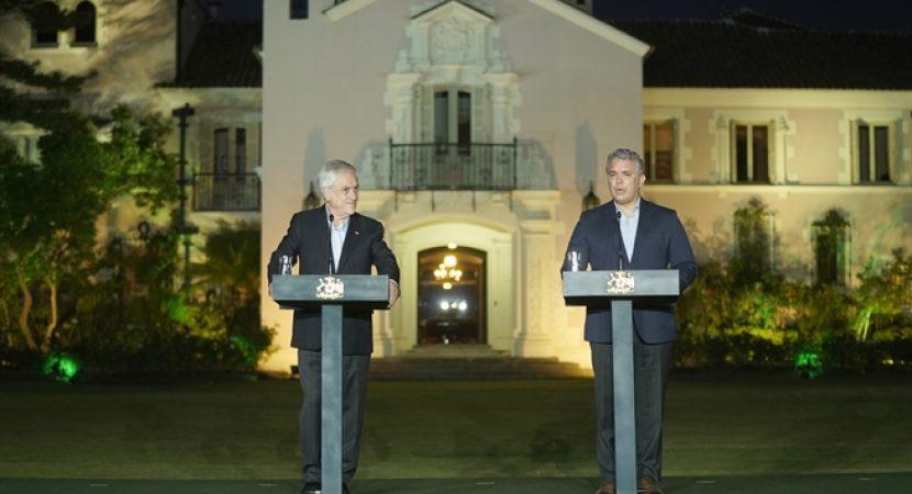 Presidente Sebastián Piñera destaca integración regional en encuentro con presidente de Colombia