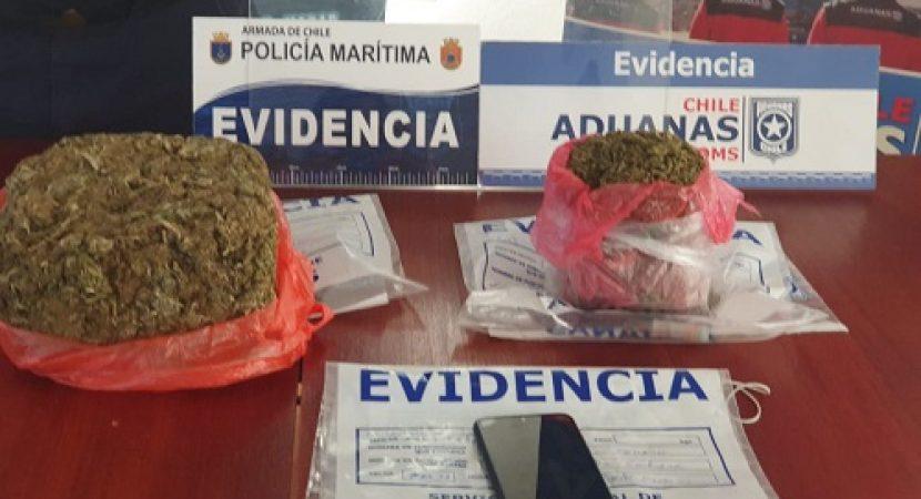 Personal de Aduana descubre 1,2 kilos de marihuana dentro de envases de cloro