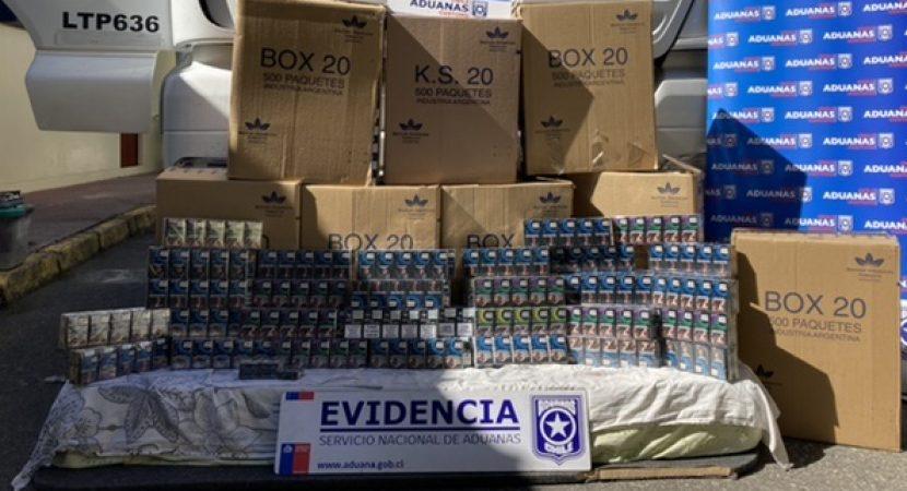 Detectan contrabando de 4 mil cajetillas de cigarrillos en doble fondo de camión